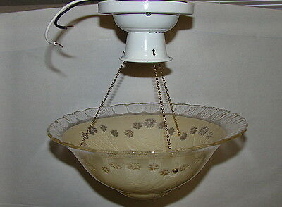 Antique Ceiling Light Fixture with Glass Shade