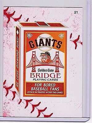 """2016 Wacky Packages Baseball Series 1 Lace Border """"sf Giants Playing Cards"""" #21"""