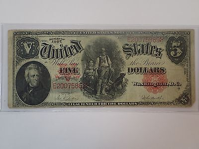 1907 $5 Five Dollar  Woodchopper Note
