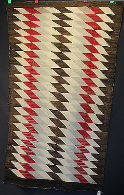 "Antique Navajo Rug with Stacked Trapezoids c.1920-30, 63"" x 37"""