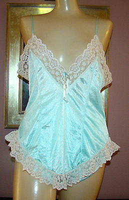Vtg Mint Green Soft Nylon Very Lacy Baby Doll Nightie & Panties Nightgown Size M