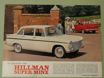 HILLMAN SUPER MINX.. sales sheet from the 1960's.