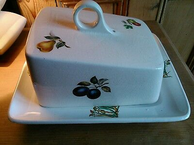 Large Butter / Cheese Dish by Price Kensington Vintage - Vegetables Design