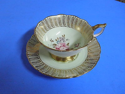 Royal Stafford Bone China Tea Cup + Saucer Flower + Gold
