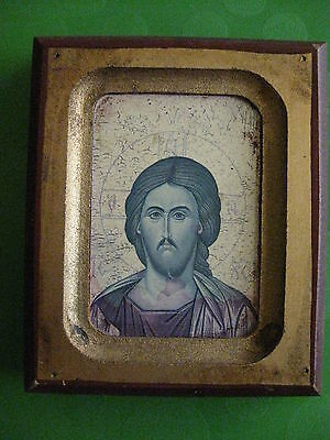 Vintage Traditional Byzantine Reproduction Icon Of Jesus, Very Nice* Looks Great