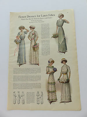 Vintage Fashion Flower Dresses  By M. E. Musselman Ladies Home Journal