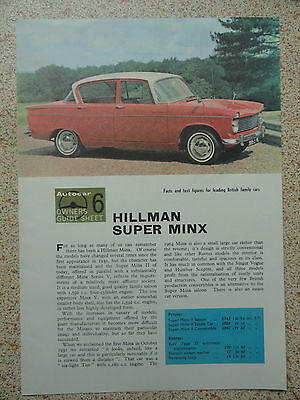 HILLMAN SUPER MINX.....Autocar Owners Guide Sheet from 1964.
