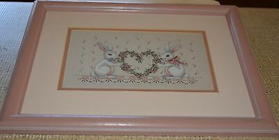Completed Needlepoint Tapestry Pair Rabbits Holding Heart Garland Framed Gift