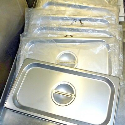 6 Flat Stainless Steel 1/3 Steam Table Pan Flat Lids / Covers
