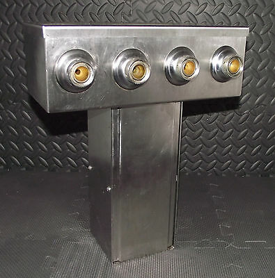Micro Matic Stainless Steel 4 Tap Beer Tower Dispenser Bar Man Cave Nice L@@k