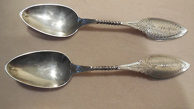 P Fries Philadelphia  2 Antique Engraved Twisted Detail Coin Silver Spoons