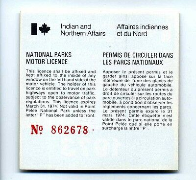 1973 National Parks Canada Motor Vehicle License - Elk Window Decal