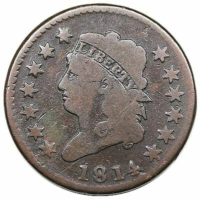 1814 Classic Head Large Cent, Crosslet 4, S-294, G-VG