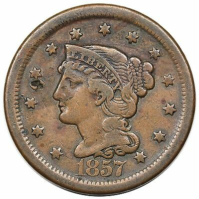 1857 Braided Hair Large Cent, Large Date, N-1, F detail