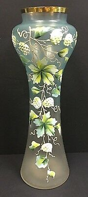 Tall Victorian Antique Art Glass Vase with Enamel  Decorations