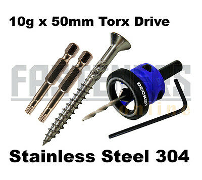 1000pcs - 10g x 50mm Stainless Steel 304 Torx Decking Screws + Countersink Tool