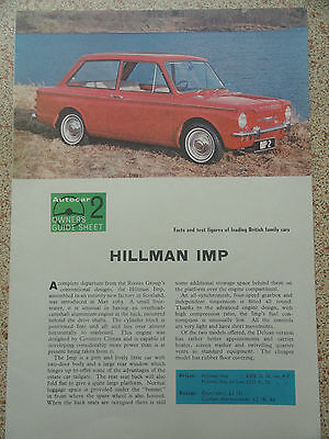 HILLMAN IMP...Autocar Owners Guide Sheet from 1964.