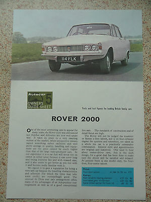 ROVER 2000......Autocar Owners Guide Sheet from 1964.