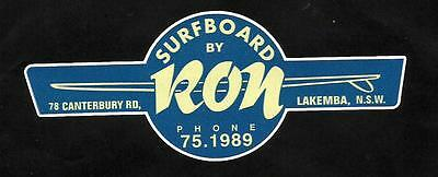 """""""SURFBOARDS BY RON """" VINTAGE / RETRO Sticker Decal 1960s LONGBOARD SURFER SURF"""