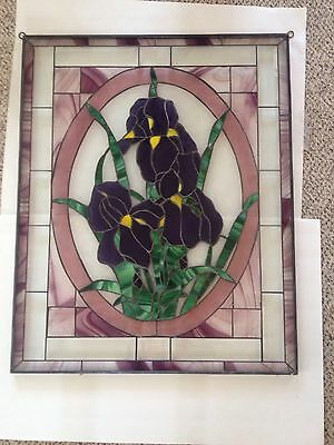 Tiffany Style Framed Stained Glass 31 X 25