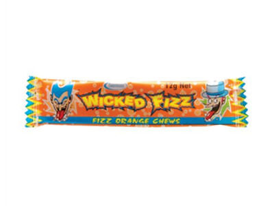 Wicked Fizz Orange Flavor Kids Favorite Tasty Chews - Brand New 2 x Bars