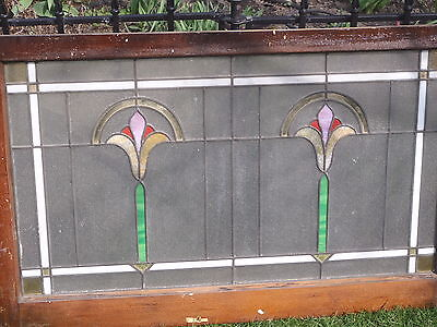 Vintage Chicago Stained Glass Leaded Bungalow Window Panel
