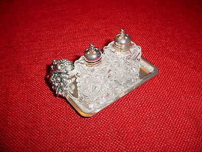 New Silver Plated Miniature Salt & Pepper Shaker Tray Airplane Wedding Bed Tray