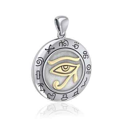 Eye of Horus Egyptian Sterling Silver Gold Accent Udjat Pendant by Peter Stone