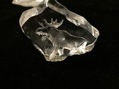 Mats Jonasson Art Glass Stag Caught in Glass  Signed