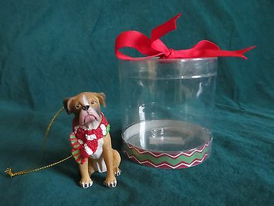 """Ganz Boxer Dog with Scarf Christmas Ornament in Original Gift Container - 2 3/4"""""""