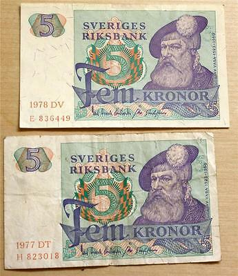 1977 and 1978 Sweden 5 Kronor