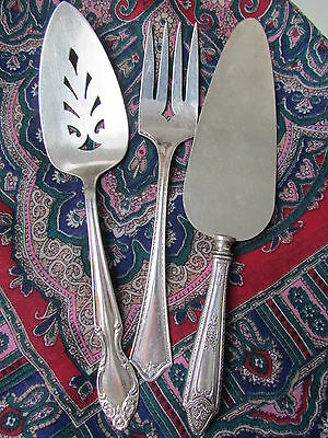 Antique Art Deco Sterling Handle Pie Cake Server Silverplate Cold Meat Fork Lot