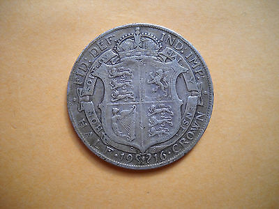 Large world sterling silver coin Great Britain half crown 1916 UK .925 KM# 818.1