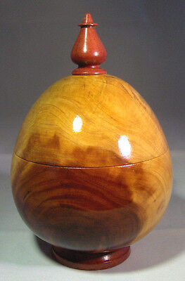 Large Egg Shaped Lidded Box Turned Cedar And Exotic Bloodwood Handmade, So Cool