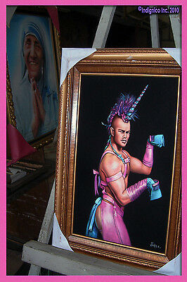 Black Velvet Painting of NICE YOUNG MAN as a Long-Horned PLEATHER-CLAD Unicorn!!