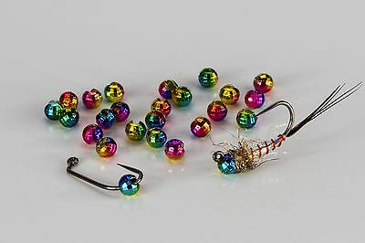 """Tungsten Slotted Faceted Fly Tying Beads - 2.5mm (3/32"""") Rainbow, 25 pack!"""