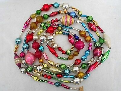 Vintage Mercury Glass Garland Large Shaped Beads Xmas Tree Ornaments ~ 8 + Feet