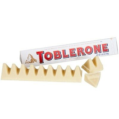 White Toblerone Chocolate 100g - White Chocolate with Honey and Nougat chunks