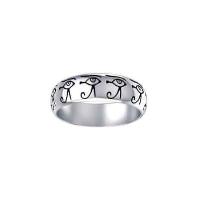Eye of Horus Egyptian Udjat .925 Sterling Silver Ring by Peter Stone Jewelry