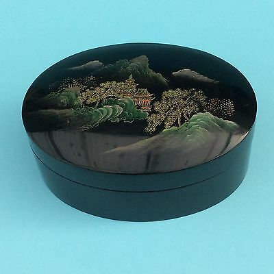 RETRO ASIAN BLACK LACQUER WARE LIDDED BOX Hand painted Mountain Temple Scene