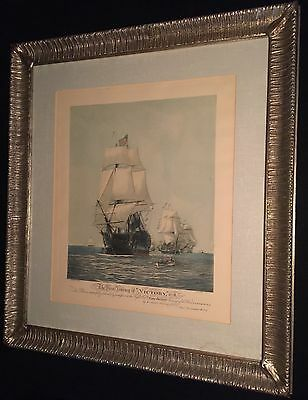 """c.1922 Etching & Aquatint THE FIRST JOURNEY OF """"VICTORY"""" 1778 By Harold Wyllie"""