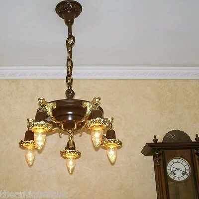 840 Antique 1910's Ceiling Light lamp fixture chandelier 5 Lights
