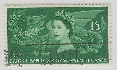Great Britain Sc. 340 Welsh Dragon Holding Laurel 1958 Used