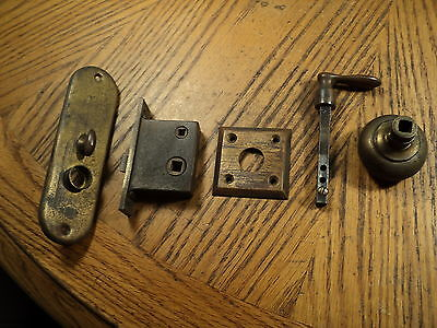Vintage Brass Door Knob Lever Latch Lock & Lock Plate Assembly