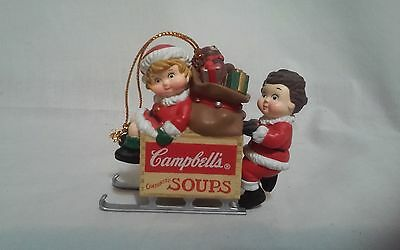 Campbell's Kids Condensed Soups Sleigh 1996 w/ Toy Bag Christmas Tree Ornament