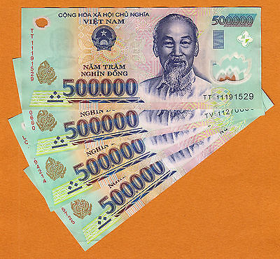 Vietnam 500,000 X 4 Pieces (PCS) = 2 Million Dong Currency VND Banknotes new/UNC