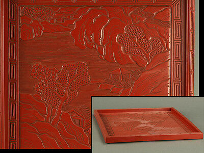 Chinese Red Cinnabar Lacquerware Tea Tray with Landscape Carved in Relief: AN792