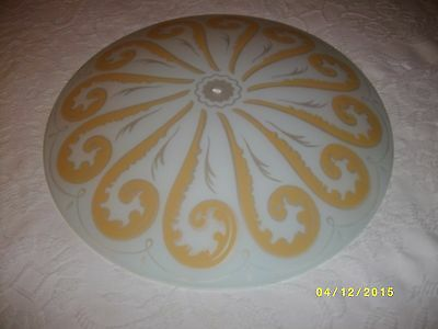 Antique vintage light fixture shade gold and white pattern lighting center hole