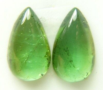Natural green tourmaline, 11.13ct 8x16mm, cabochon, pair, pear  cab Brazil 480