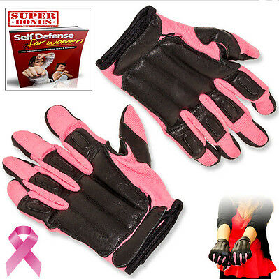 Self Defense Personal Protection Police Riding Pink Steel Shot Large SAP Gloves